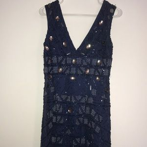 Adrianna Papell beaded navy cocktail dress